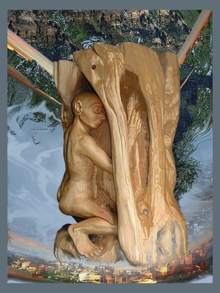 wood sculpture digital art collage